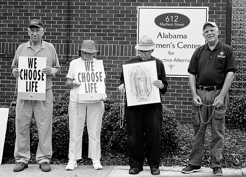 Outside an abortion clinic in Huntsville, Alabama.