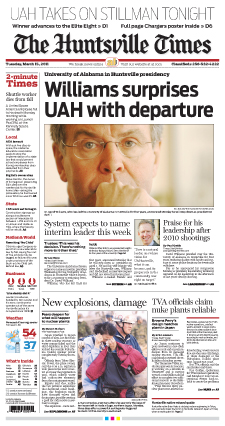 UAH President David Williams resigns - HSV Times front page 3/15/11