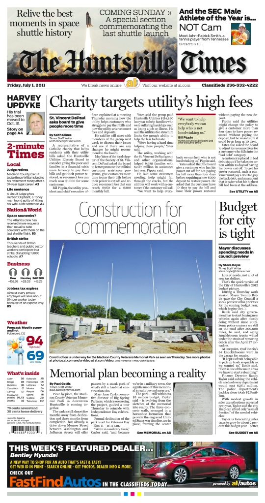 Front page, Huntsville Times, Friday 1July2011