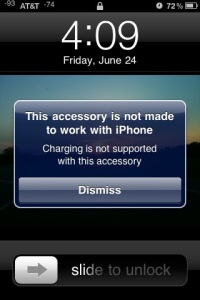 Screen Shot - Apple iPhone 3GS - Accessory not supported