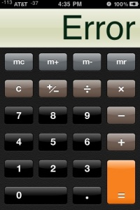 "Apple iPhone Screenshot - Calculator ""Error"" message"