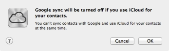 iCloud sync & Google contacts