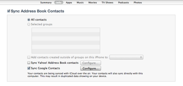 iTunes Sync Address Book Contacts