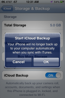 Start iCloud Backup iPhone Screen Shot