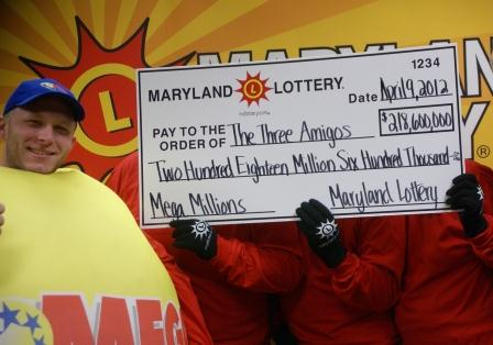 "The ""Three Amigos"" claim their part of record-breaking Mega Millions jackpot."