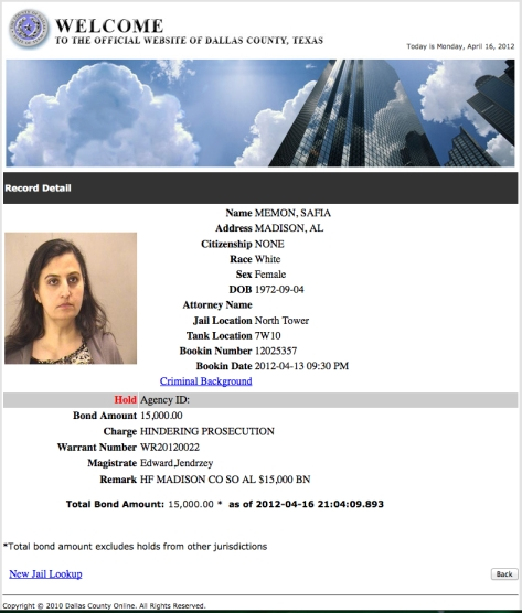 Safia Memon booking Dallas County TX jail
