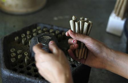 A worker prepares cigarettes filled with marijuana at a plantation near the northern Israeli city of Safed