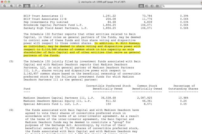 Mitt Romney dispositive power at Bain
