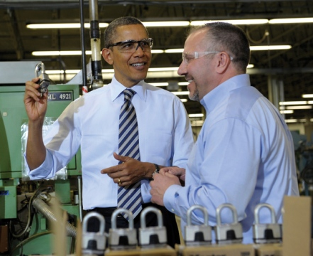 Obama in Master Lock factory Milwaukee