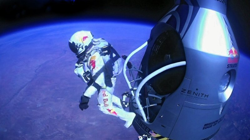 Felix Baumgartner stepping off ledge