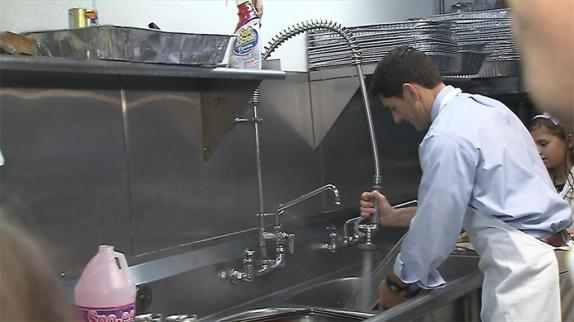 Paul Ryan dishwashing fauxto WKBN-Canfield