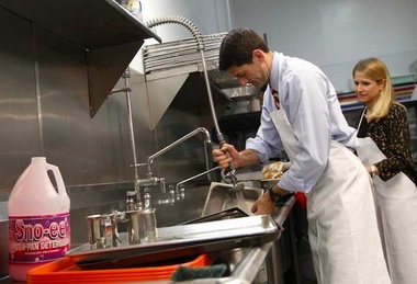 Paul Ryan & wife wash clean dishes