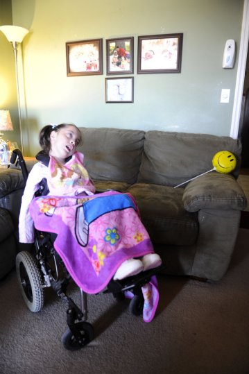 Gracelynn Smith, sits in her wheelchair in the living room during an interview in their home Monday, November 19, 2012 in Athens, Ala. (Eric Schultz / eschultz@al.com)