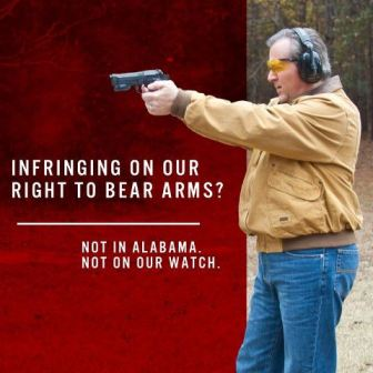 "Alabama State House GOP ""Dare Defend Our Rights"" gun logo"