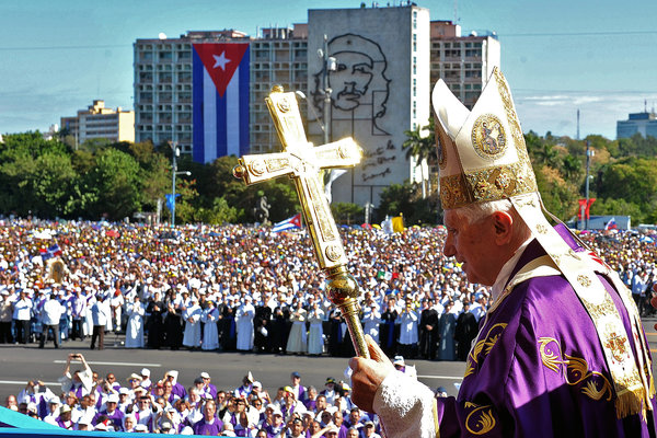 The pope arrived for Mass at Revolution Square in Havana in March 2012. - Osservatore Romano, via Agence France-Presse — Getty Images