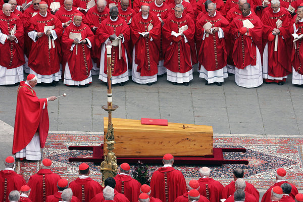 Cardinal Joseph Ratzinger blessed the coffin of Pope John Paul II during his funeral mass in April 2005. - Patrick Hertzog/Agence France-Presse — Getty Images