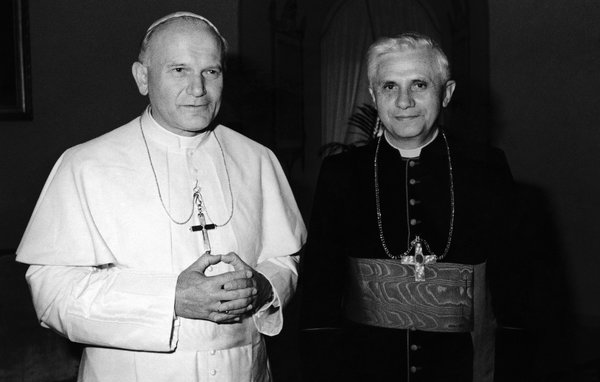 Pope John Paul II, left, with Cardinal Joseph Ratzinger of Munich, in 1979. - Associated Press