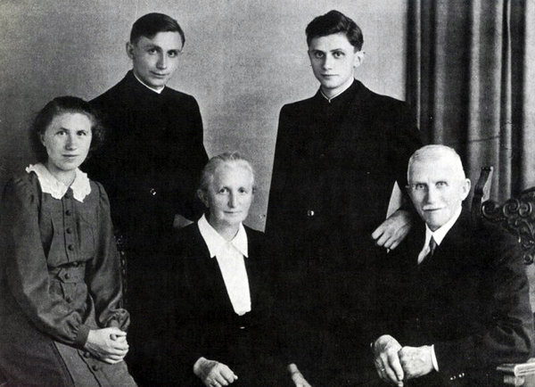 Joseph Ratzinger, top right, with his family in Freising in Bavaria, after his ordination in 1951. - Agence France-Presse — Getty Images
