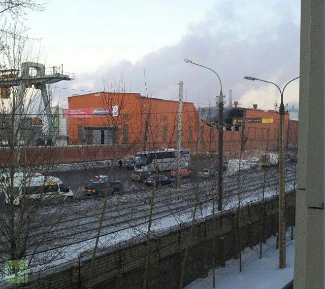 Local zinc factory was damaged the severest, some of its walls collapsing (Photo from Twitter.com user @TimurKhorev)