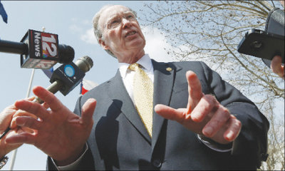Gov. Robert Bentley talks with reporters in Montgomery last week. Photo: Dave Martin/Associated Press