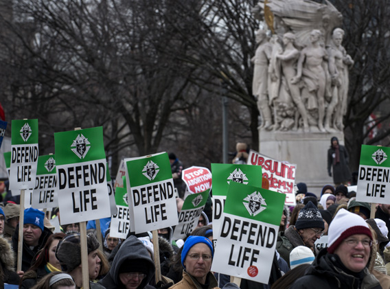 Pro-life activists march during the March for Life January 25, 2013 in Washington, DC.  Pro-life activists march during the March for Life Jan. 25, 2013 in Washington, D.C. Photo by Brendan Smialowski/AFP/Getty Images