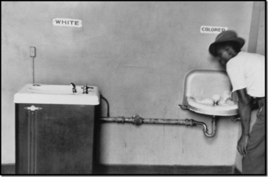 "A public water fountain in the days of ""separate but equal,"" and legally enforceable apartheid in the United States."