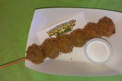 Deep Fried Olives -- Extra large, pitted green olives dipped in a seasoned batter, deep fried to a golden brown and served with dipping sauce. Available at Fried Fruit, located in Carousel Park, east of the Grandstand Ramp. (Photo courtesy of the Minnesota State Fair.)