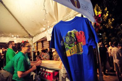A Monkeynaut IPA tshirt from the Straight to Ale brewery from Huntsville, Ala., hangs in their tent during the 2013 Magic City Brewfest, Friday, May 31, 2013. (Tamika Moore | tmoore@al.com)