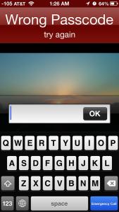 Wrong Passcode iPhone screen shot
