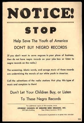 Historical Racist Promotional Image - Citizen's Council of Greater New Orleans, Inc.