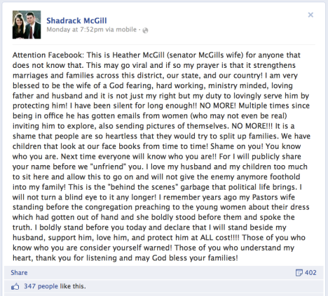 Facebook post by Heather McGill, wife of Alabama State Senator Shadrack McGill (R, 8th District)