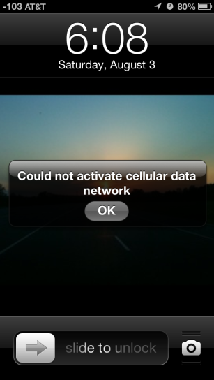 iPhone 5 Error message: Could not activate cellular data network