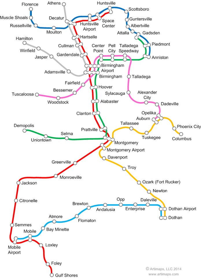 Alabama Rapid Transit System, as envisioned by Alabama artist David Nuttall - http://www.artimaps.com/.