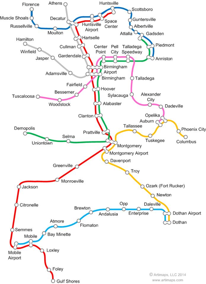 Alabama Rapid Transit System, as envisioned by Alabama artist David Nuttall - http://www.artimaps.com/.