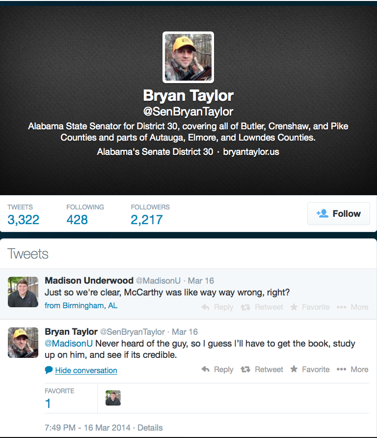 Alabama State Senator Bryan Taylor's (R) response to a query on McCarthyism.
