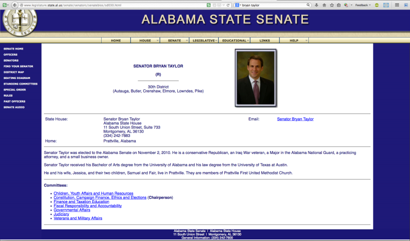 Official web page for Alabama State Senator Bryan Taylor (R)