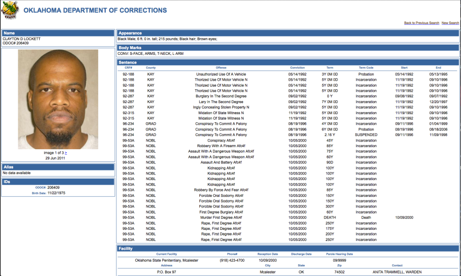 "Prison & Conviction ""Rap sheet"" for CLAYTON D LOCKETT, ODOC# 206409"