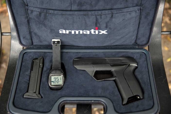 "The manufacturer Armatix intended to make the iP1 the first ""smart gun"" for sale in the United States.  Credit Monica Almeida/The New York Times"