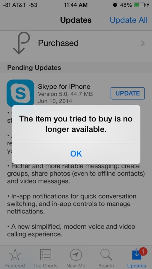 Apple App Store iPhone screenshot of Skype, by Microsoft