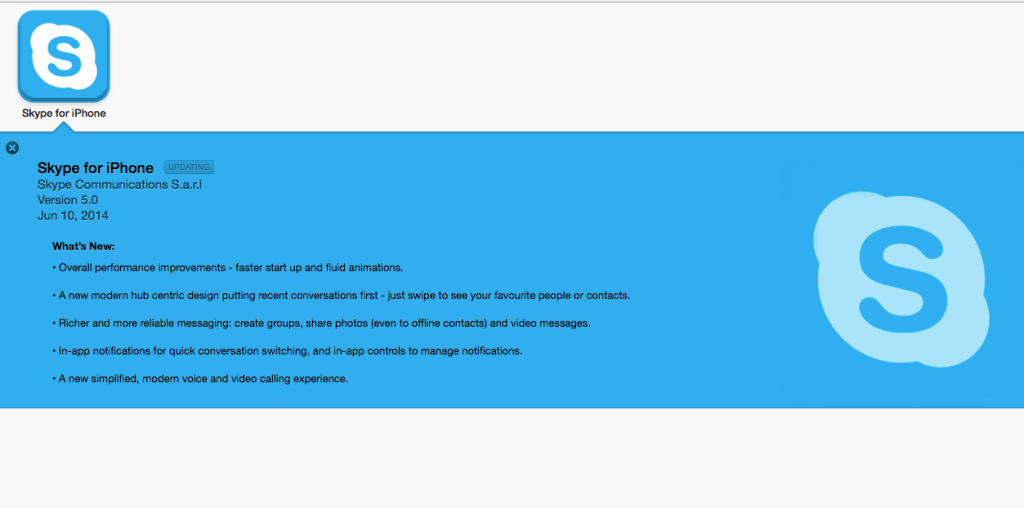 Skype appears as an update in the Apple App Store, but instead is completely unavailable.