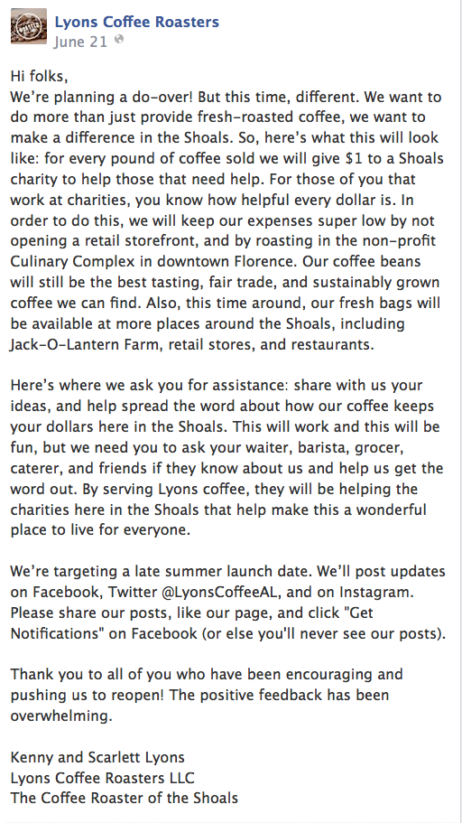 Lyons Coffee Roasters of Florence announces via FaceBook that they're going to resume operations and reopen their business.