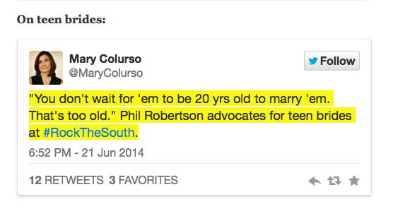 Tweet of Phil Robertson's latest stupid remark.