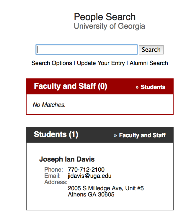 University of Georgia people search