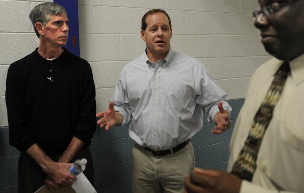 Alabama State Senator Cam Ward (center), speaks  speaks to media members during a tour as Kim Thomas, Commissioner of the Alabama Department of Corrections (left) and warden Carter Davenport listen at the St. Clair Correctional Facility Fri., March 16, 2012 in Springville, Ala. (The Birmingham News/Bernard Troncale)