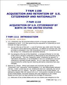 U.S. Department of State circular on United States citizenship