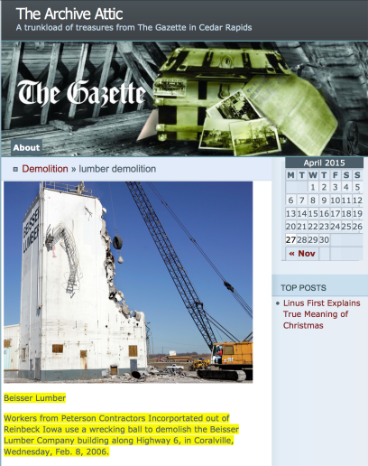 Screenshot of The Gazette, Cedar Rapids, IA, showing David Lienemann's photograph of the wrecking ball destruction of a building belonging to Beisser Lumber, Cedar Rapids, Iowa.