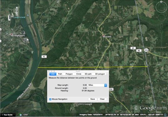 Distance from the AL/GA state line is roughly 5.5miles+/-