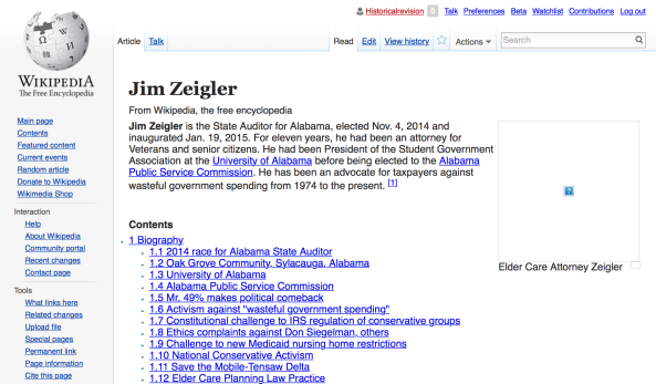 Website for Alabama State Auditor Jim Zeigler, an attorney, which deliberately