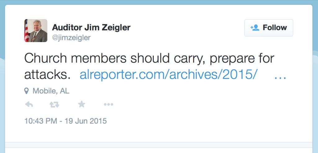 Alabama State Auditor Jim Zeigler Tweet