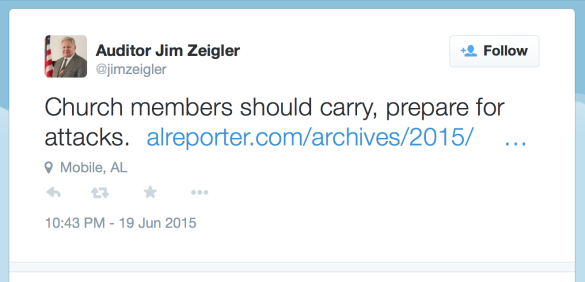 Alabama State Auditor Jim Zeigler Tweet